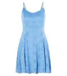Blue Floral Lace Slip Dress
