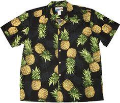 1c474f5a Maui Pineapple Black Cotton Men's Hawaiian Shirt Black Hawaiian Shirt, Mens Hawaiian  Shirts, Hawaiian