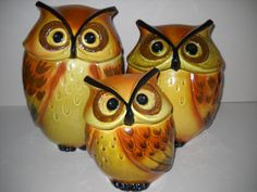 Vintage Two Sided Ceramic Owl Canisters Set Of 4   Owl, Retro And Owl  Kitchen