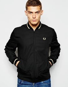 Image 1 ofFred Perry Laurel Wreath Bomber Jacket with Single Tip