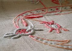 Embroidered antique towel with my initials - detail