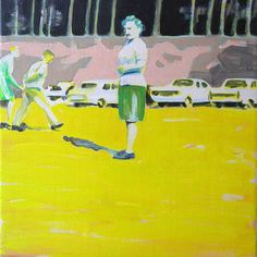 """Car Park,"" original figurative painting by artist Cécile Vrinten (Netherlands) available at Saatchi Art #SaatchiArt"
