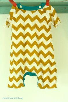 Baby boy one piece outfit chevron romper made by MishmashClothing, $36.00