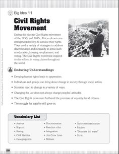 Civil Rights Movement: Essential Questions for Social Studies - Classroom Management - Teacher Resources - Subject Vocabulary Worksheets, Free Worksheets, Kindergarten Worksheets, Teacher Resources, Teaching Ideas, African American History Month, My Future Career, Alzheimers Activities, Social Studies Classroom