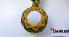 Golf ball paracord key fob pattern- green and brown.