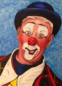 "Watercolor Clown #11 Jeffrey Potts AKA ""Bungles TheClown"" 9 X 12 on Canson Watercolor 140 lb paper Original SOLD"