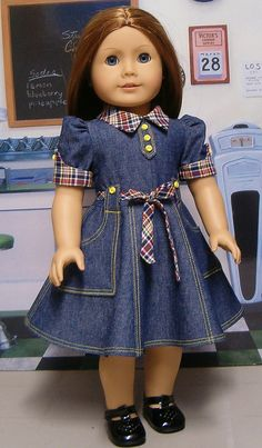 Molly Denim dress with plaid accents. Sewing Doll Clothes, Doll Clothes Patterns, Girl Doll Clothes, Girl Dolls, Ag Dolls, African Dresses For Kids, Dresses Kids Girl, Kids Outfits, Doll Dresses