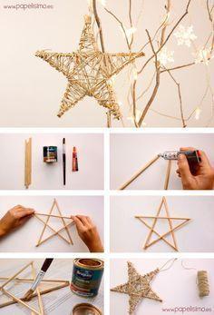 Como-hacer-estrella-de-madera-e-hilo-arbol-de-Navidad: