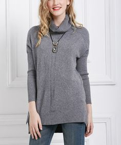 Loving this Simply Couture Gray Textured Cowl Neck Sweater on #zulily! #zulilyfinds