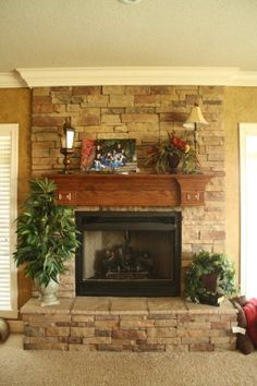 I want this for my new home soon, hint hint hint to my hubby :) – Stone fireplace living room Corner Stone Fireplace, Stone Fireplace Decor, Fireplace Facing, Stacked Stone Fireplaces, Brick Fireplace Makeover, Fireplace Remodel, Fireplace Wall, Living Room With Fireplace, Home Living Room