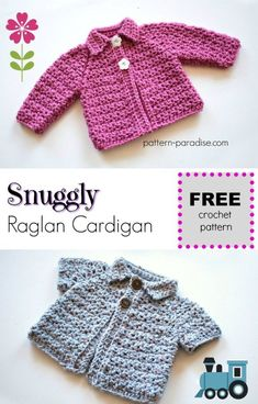 Free Crochet Pattern: Snuggly Raglan Cardigan - /cdn-cgi/l/email-protection Crochet Pattern: Snuggly Raglan CardiganDisclos Crochet Baby Cardigan Free Pattern, Crochet Baby Sweaters, Gilet Crochet, Baby Sweater Patterns, Baby Knitting, Crochet Patterns, Crochet Toddler Sweater, Booties Crochet, Beanie Pattern