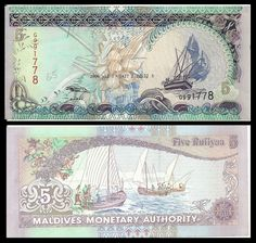 Maldives Rufiyaa banknotes for sale. Dealer of quality collectible world banknotes, fun notes and banknote accessories serving collectors around the world. Over 5000 world banknotes for sale listed with scans and images online. Maldives, Money Notes, World Coins, Coin Collecting, History, Money Worksheets, Bank Deposit, Print Design, Graphic Design