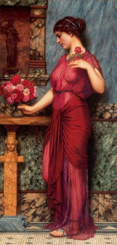 """Lady in Red"" (could be William Waterhouse?)    no, its john william godward"