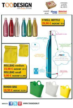 www.toodesign.it. Promozioni dell'estate: S'well, Rondo Bags, Rollbags!