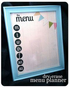 Dry Erase Menu Board - free Printable