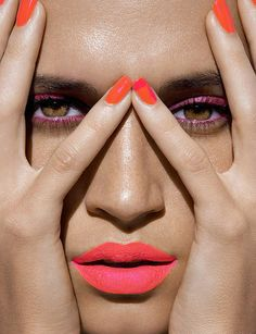 neon nails and lips #beauty