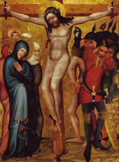 1370 Circle of Master Theoderic of Prague; Crucifixion, (from the Na Slovanech Emmaus monastery, Prague). Salvator Mundi, Crucifixion Of Jesus, Madonna And Child, Medieval Art, Gothic Art, Christian Art, Middle Ages, Prague, All Art