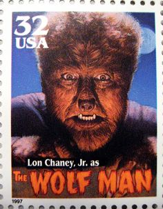 Universal Monsters Stamps 1997 - The Wolf Man Monster Lawrence Talbot Larry played by Lon Chaney Jr Junior as the hound like creature horror film movie portrait poster wolfman werewolf lycanthrope Halloween Holiday decoration mask like costume Classic Monster Movies, Classic Horror Movies, Classic Monsters, Horror Films, Horror Art, Horror Icons, Retro Horror, Vintage Horror, Thomas Blackshear