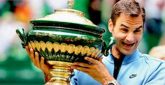 """""""Roger Federer with his trophy after winning the Gerry Weber Open in Halle, 2017 """""""