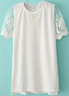 White Contrast Lace Short Sleeve Dipped Hem T-Shirt US$23.28