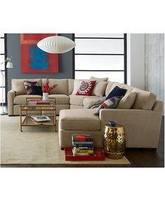 Radley Fabric Sectional Sofa Living Room Furniture Collection   macys.com  sc 1 st  Pinterest : macys radley sectional - Sectionals, Sofas & Couches