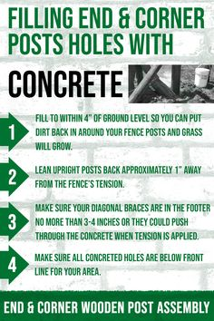 Filling your end and corner wooden #fence posts with #concrete ensures your fence system will stand strong for years. When filling all of your end and corner holes with concrete, please keep the following in mind. Make sure your upright posts are correct with your string line and all string line is on the outside of your corners; your string line represents your fence. #horses #horsefence #rammfence #equestrians #concrete #posts #fenceposts #concreteholes #installation #farm #diy #project