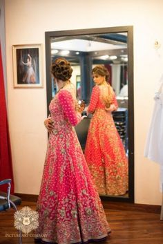 pink bridal anarkali with gold embroidery #pinkanarkali #designeranarkali #bridalanarkali