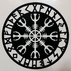 Viking Helm of Awe Aegishjalmur Rune Amulet Runic Symbol Decal Sticker