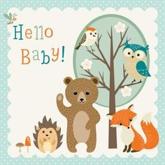 Illustration about Baby shower design with cute woodland animals. Illustration of illustration, greetings, child - 55353453 Art And Illustration, Illustrations, Cute Animals With Funny Captions, Cute Baby Animals, Baby Shower Garcon, Baby Congratulations Card, Nursery Wall Murals, Baby Shower Cards, Shower Baby