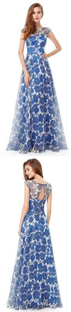 Blue floral print long prom dress