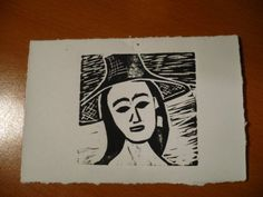 Linoprint - First Nations woman. I like the medium of linoprint - it is immediate - love to see the first one come off the plate.