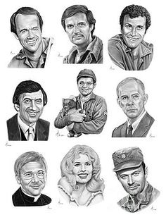 Mash 4077 by Murphy Elliott Celebrity Caricatures, Celebrity Drawings, Celebrity Portraits, Mash 4077, Barbacoa, Mash Characters, William Christopher, Hogans Heroes, Celebrities Then And Now