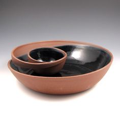 Large Red Clay Chip and Dip Serving Bowl with Black Glaze