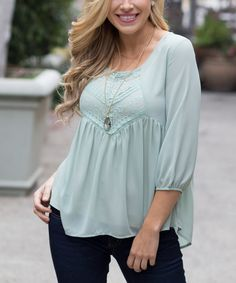 Look at this Pinkblush Sage Silk-Blend Empire-Waist Top on #zulily today!