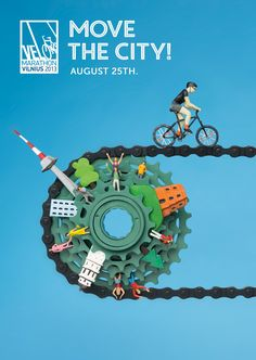 Velo Marathon Poster- Love this clever graphic that really shows what the event is about. Bike Poster, Poster S, Poster Ideas, Ads Creative, Creative Advertising, Creative Design, Print Advertising, Print Ads, Advertising Agency