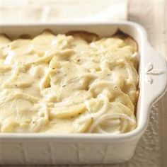 Never-Fail Scalloped Potatoes - - Take the chill off any blustery day and make something special to accompany meaty entrees. This is the best scalloped potatoes recipe ever, and my family loves when I serve it. Side Dish Recipes, Great Recipes, Dinner Recipes, Favorite Recipes, Family Recipes, Best Scalloped Potatoes, Scalloped Potato Recipes, Potato Dishes, Food Dishes