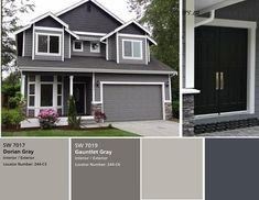 Novas cores de tinta cinza exterior para a casa verde ideias - HOUSE: EXTERIOR. Exterior Gris, Exterior Gray Paint, Stucco Exterior, Stucco Homes, Exterior Paint Colors For House, Paint Colors For Home, Modern Exterior, Exterior Design, Grey Paint