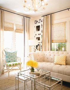 """I love the """"French"""" look of these curtains, the black hardware. I will do the same in my living room only instead of that natural fiber shade I will do a Roman shade."""