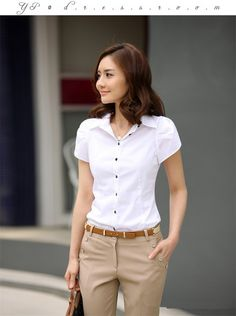 华人健康之友社区: Hot Sales New Women's Fashion Office Shirt Lapel Puff OL Slim Short-Sleeved Business Casual Shirt Women Blouse define aesthetically pleasing