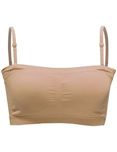 8e9b4c404 Amazon.com  BEKDO Womens One Size Crop Bandeau Top with Removable Bra Pad  and Strap-ONE SIZE-BEIGE  Clothing