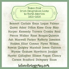Beloved Baby Names: Throwback Names: Names From Irish Emigration Lists - Popular Baby Names - Ideas of Popular Baby Names - Beloved Baby Names: Throwback Names: Names From Irish Emigration Lists Irish Girl Names, Irish Boys, Catholic Names, Unusual Baby Names, Popular Baby Names, Irish Eyes Are Smiling, Writing Words, Names With Meaning