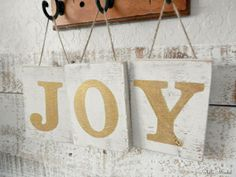 Hanging Rustic Wooden JOY Block Letters | Shabby Chic Christmas | White Washed Gold Christmas Letters | Cottage Décor | Country Decor