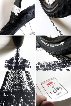 thomas yang prints architectural landmarks with bicycle tire tracks