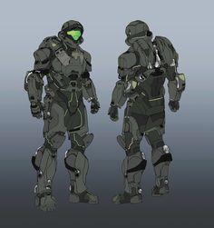 Halo Guardians Concept Art by Darren Bacon Concept Art World Halo Game, Halo 5, Odst Halo, Halo Armor, Halo Spartan, Combat Armor, Futuristic Armour, Sci Fi Armor, Concept Art World