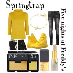 Five nights at Freddy's inspired outfits #12 Springtrap by tortured-puppet on Polyvore featuring polyvore, fashion, style, Monsoon, R13, Converse, MARC BY MARC JACOBS, Majesty Black, NARS Cosmetics and Napoleon Perdis