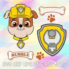Paw Patrol Badge, Rubble Paw Patrol, Paw Patrol Party, Paw Patrol Birthday, Layered Cuts, Transfer Paper, Dog Names, Silhouette Studio, Cricut Design