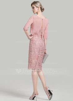 Sheath/Column Sweetheart Knee-Length Lace Mother of the Bride Dress (008085274)