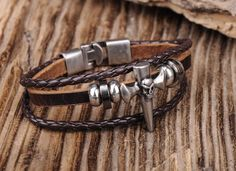 Handmade Leather Men's Scull & Cross Wrap Bracelet