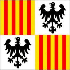 Dopo la rivolta dei Vespri (1282) i siciliani  per cacciare definitivamente gli angioini dall'isola chiesero aiuto a Pietro III d'Aragona, che incoronarono il 4 settembre 1282 re di Trinacria. Apparverro così le insegne con i pali giallo-rossi d'Aragona uniti alle aquile sveve nere in campo bianco. Fino al 1296 le armi erano inquartate normalmente.