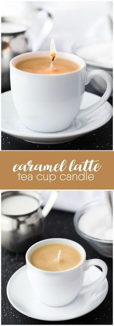 Caramel Latte Tea Cup Candle - A simple DIY gift for a coffee drinker on your holiday gift list. Who knew making candles could be so simple?! #candlemakingideas